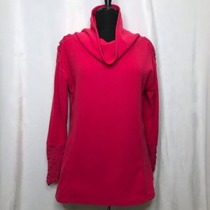 Hot pink fleece cowl neck/ruched pullover sweater